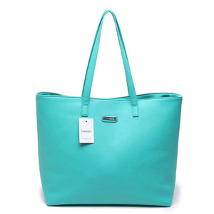 Mango leather tote bag turquoise 8225 15745231